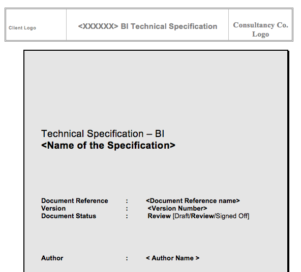 SAP BI Technical Specification Template