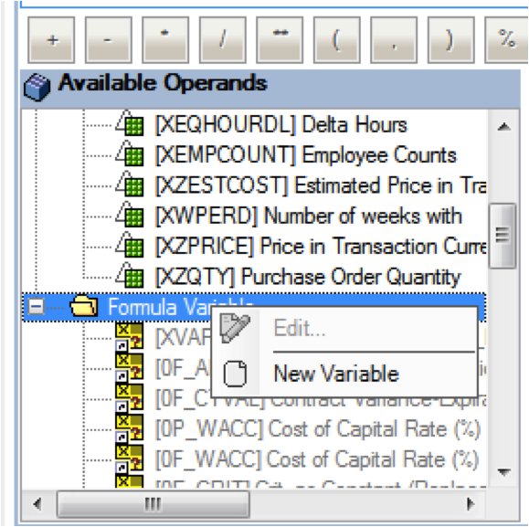 New SAP BW BEx Query Variable Creation