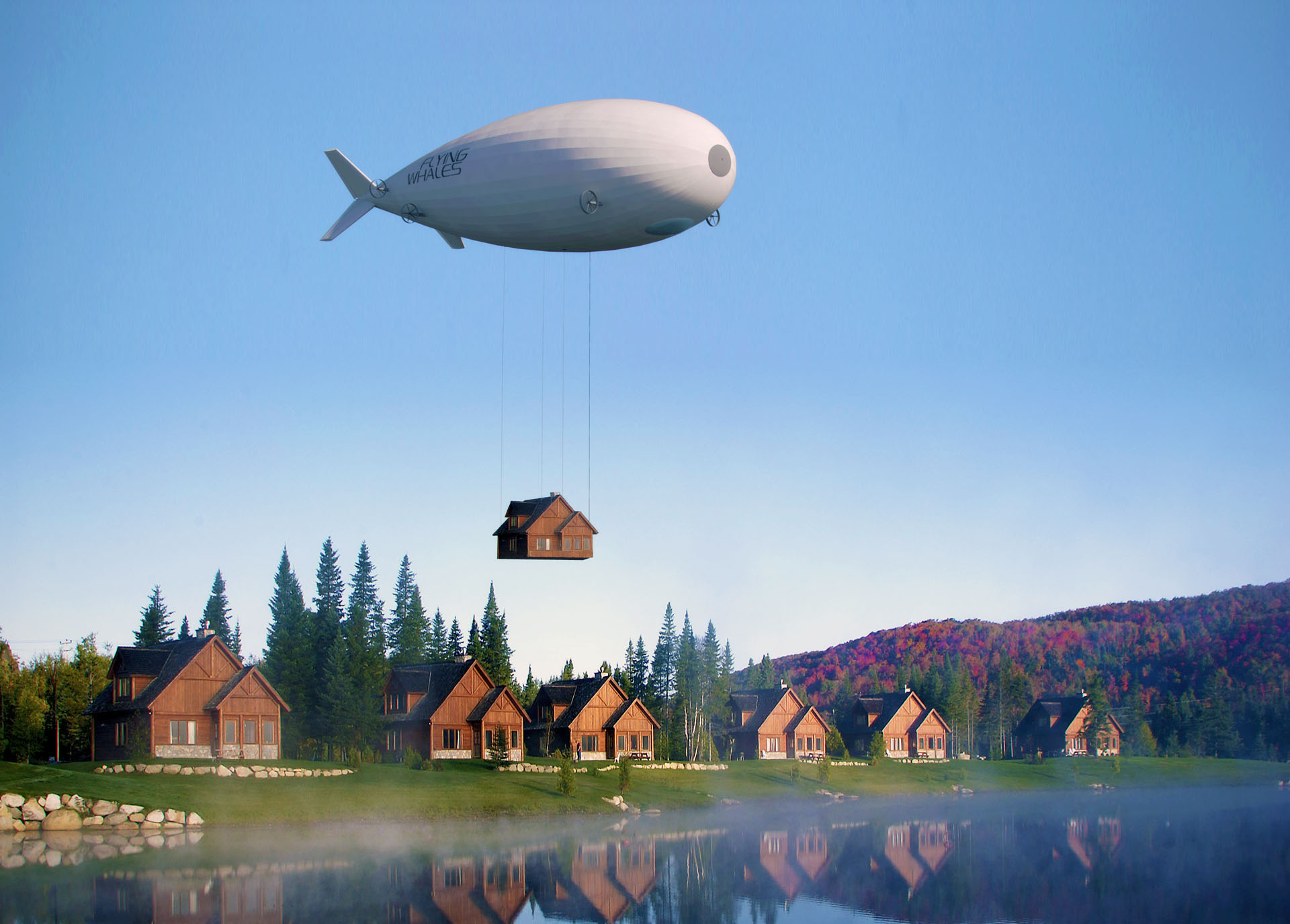 Skeleton Technologies and Flying Whales airship LCA60T carrying a house