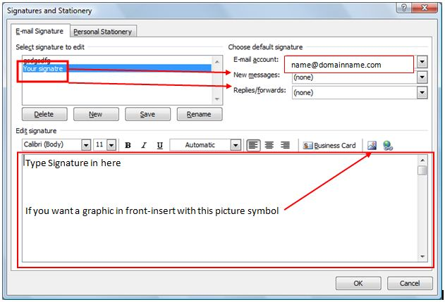 how to set up signature in outlook with logo