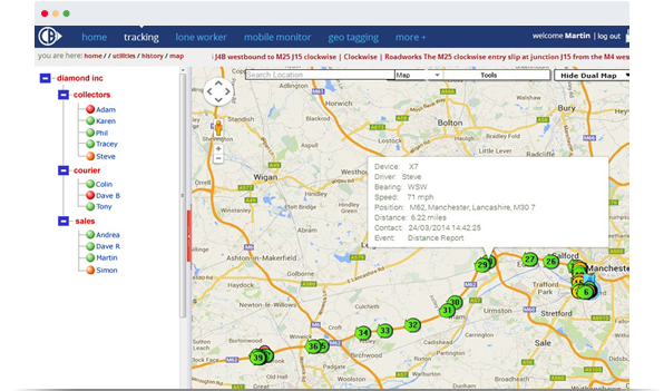 Map of Vehicle Tracking System
