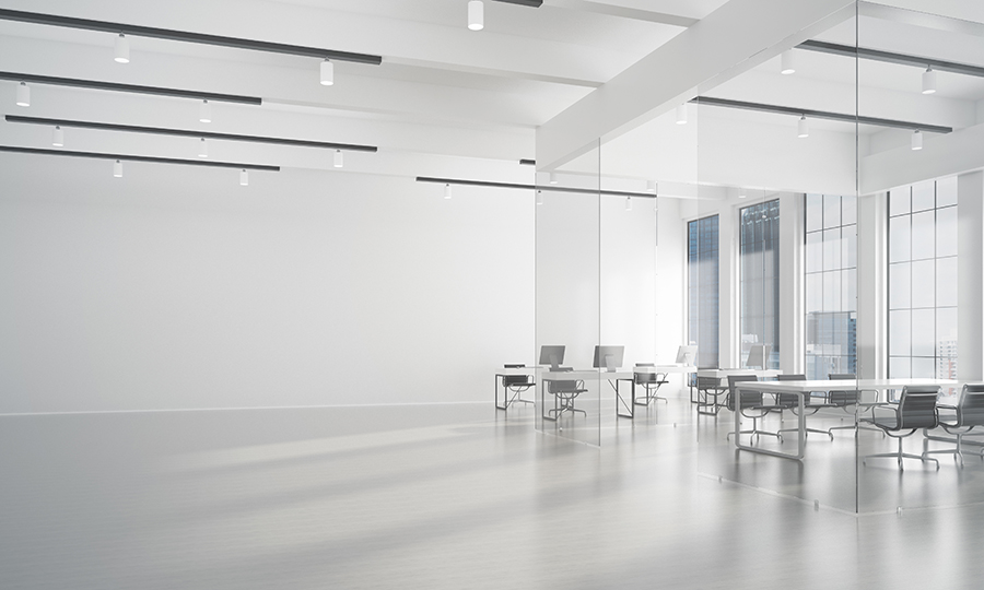 White modern office with table and chairs