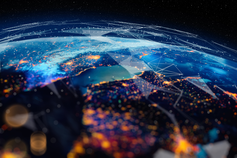 Earth from space highlighted with city lights