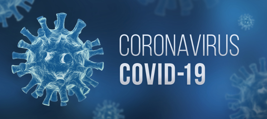 Coronavirus cell with covid-19 label