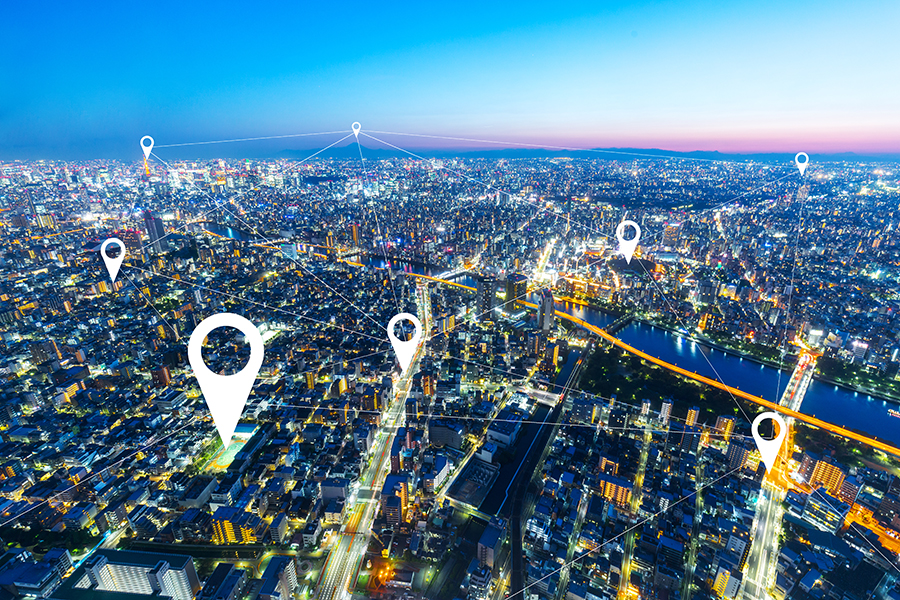 City with location dots showing telecommunication