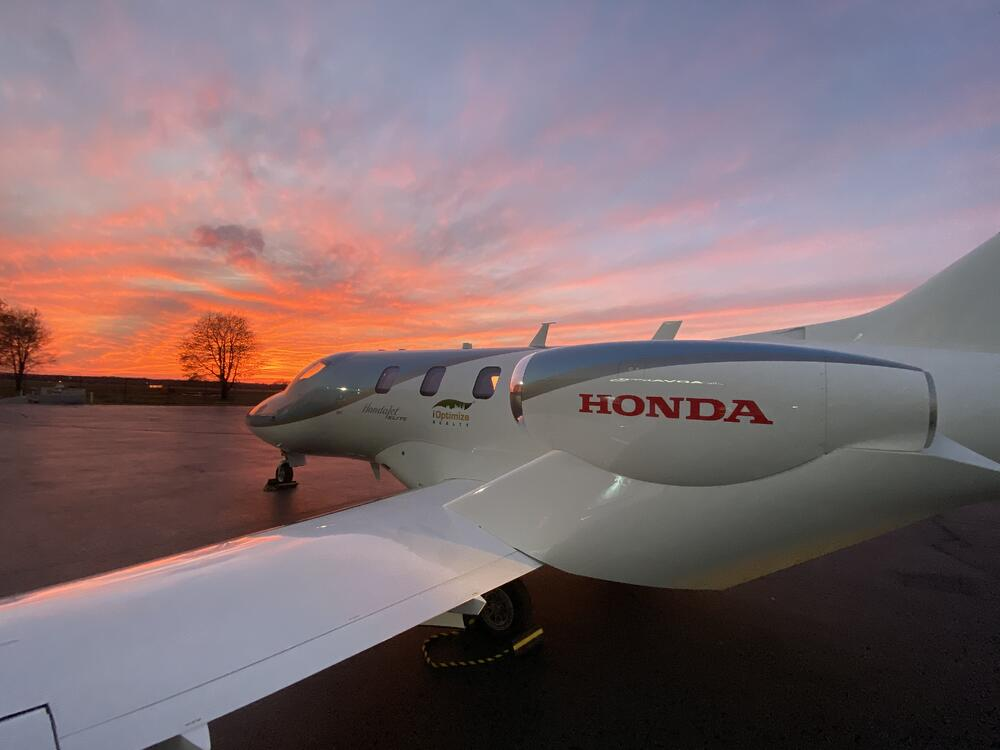 Honda commercial jet ready for takeoff