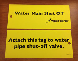 water main shut off valve tag