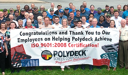 Polydeck Screen Corporation Receives ISO 9001:2008 Certification
