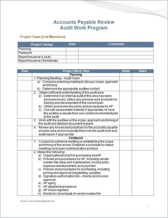 Accounts Payable Review Work Program
