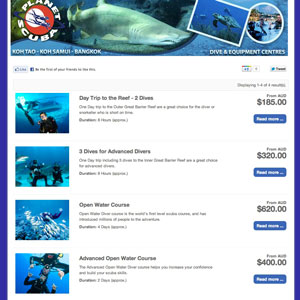 booking system demo for diving centre