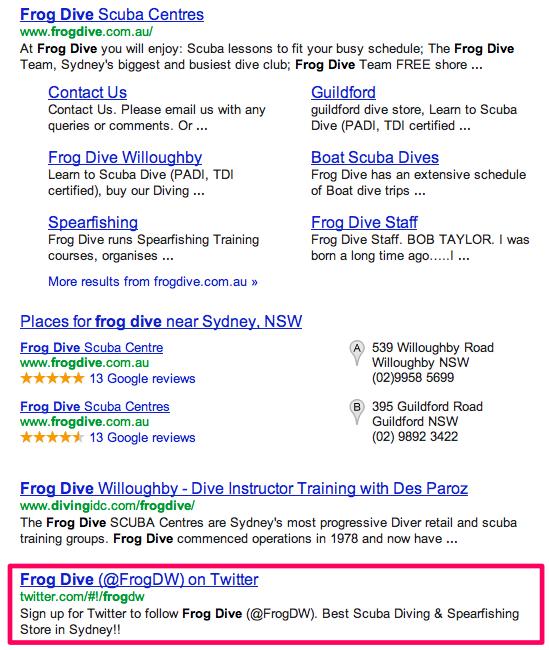 dive centre google ranking