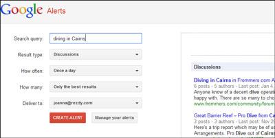 Google Alerts for Diving
