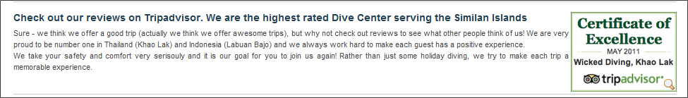 dive centre tripadvisor widget