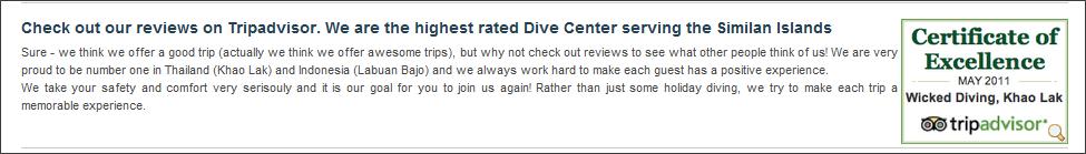 dive centre tripadvisor widget