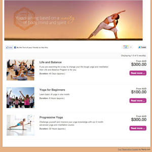 booking system demo for yoga classes