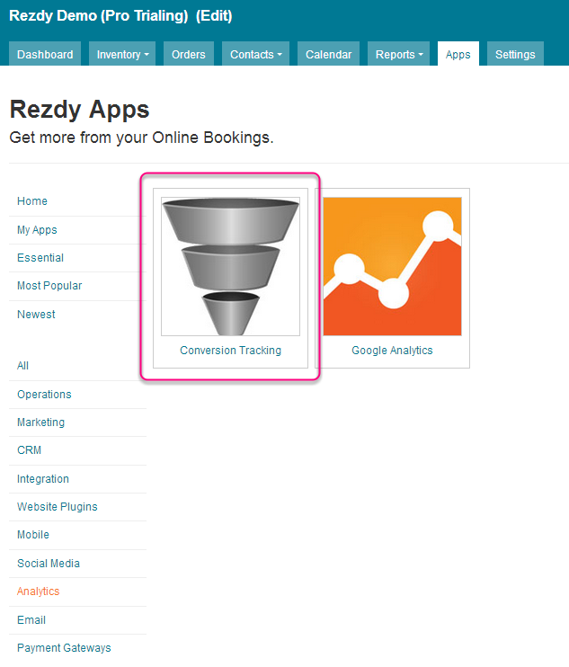 online booking conversion rate tracking-rezdy
