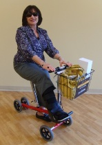 using a seated scooter instead of crutches for bunion surgery