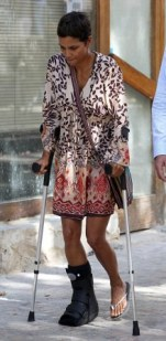 Halle Berry on crutches