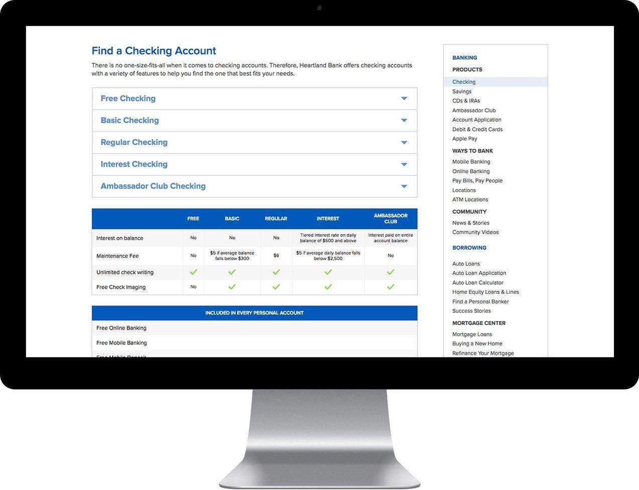 Heartland Bank interior website page on a desktop