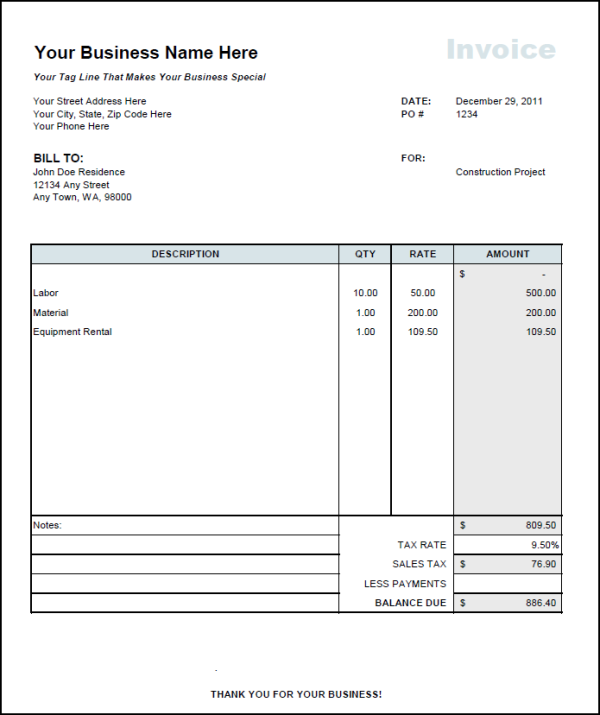 Download Labor Invoice Template Word – Labor Invoice Template Free