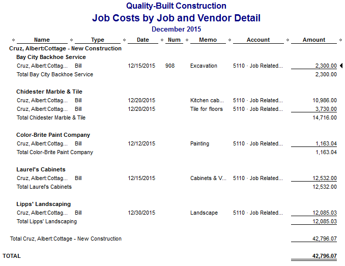 Fast Easy Accounting QuickBooks Job Costs By Job And Vendor Detail Report