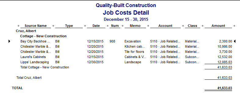 QuickBooks Job Costs Detail Report