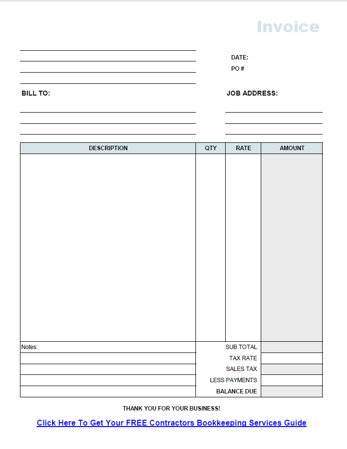 General Contractor Invoice Template. sample contractor invoice ...