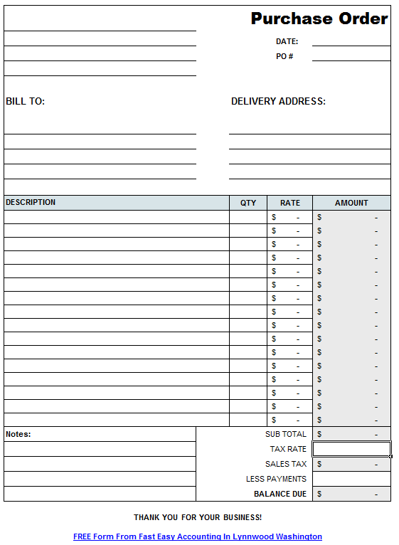 Excel Purchase Order Form Template