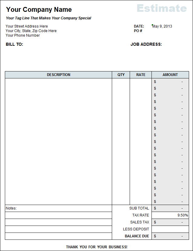 construction bid template free excel