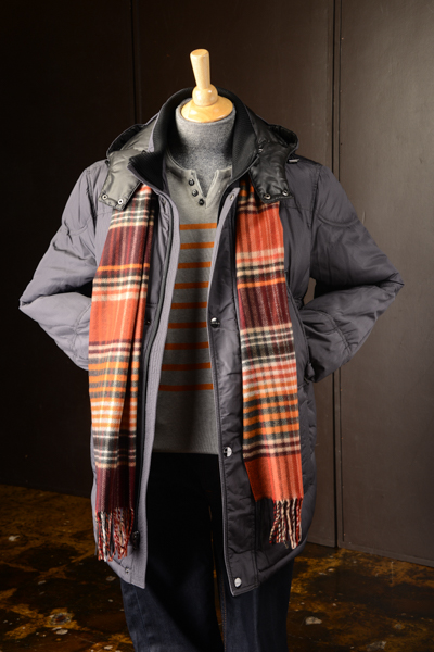 men's quality sweaters, scarves, and jeans