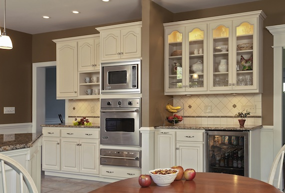 Kitchen transformed from tired to tremendous for Cathedral style kitchen cabinets