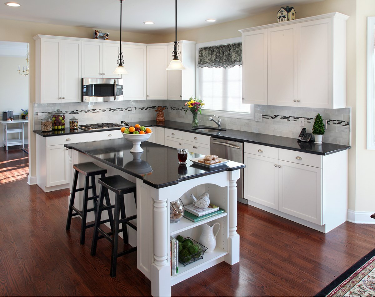 White Kitchen Cabinets what countertop color looks best with white cabinets?