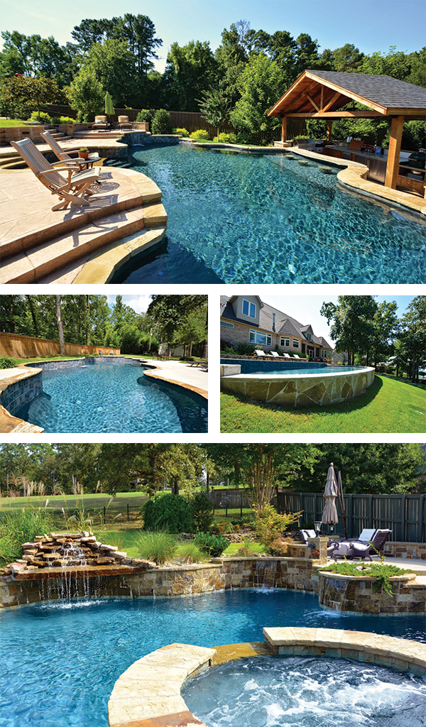 Swimming pool construction amid yard slopes - Swimming pool builders ...