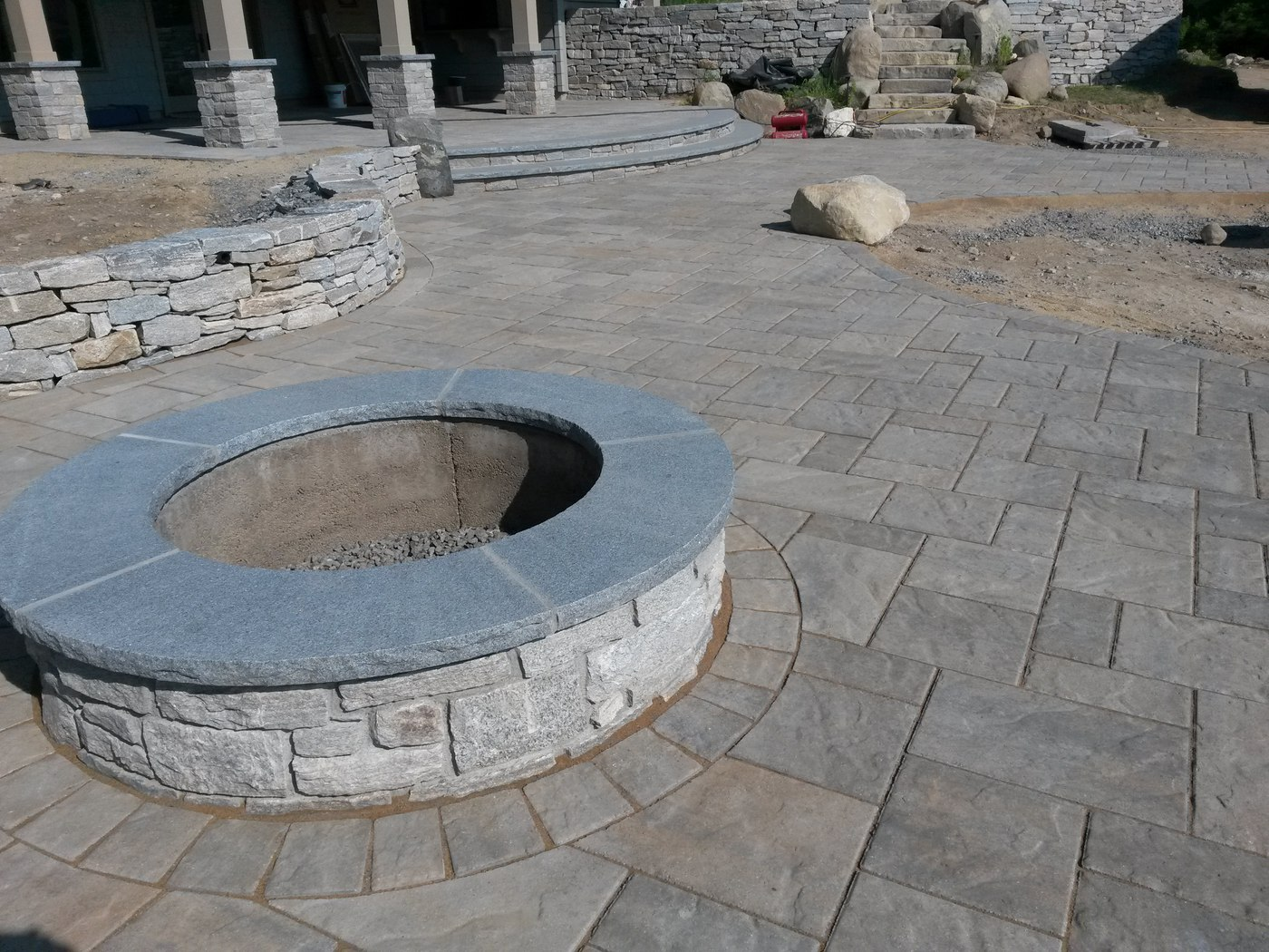 Natural Stone Wall Caps : This natural stone fire pit in wilbraham ma is finished