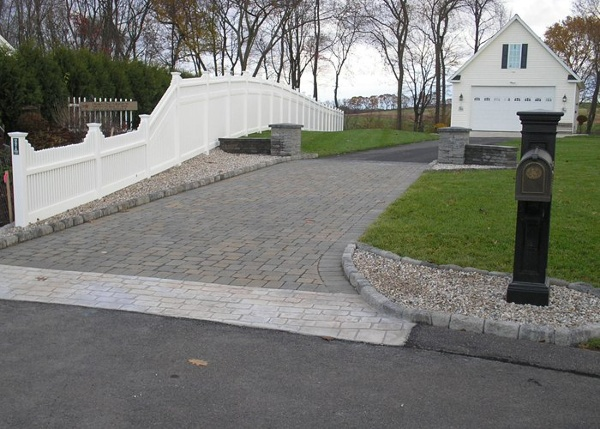 Paver and cobblestone driveway apron installation by Bahler Brothers in Broad Brook, CT.