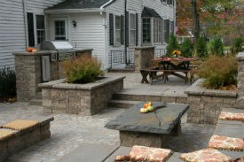 Superior ... Multi Level Paver Patio With Walls, Outdoor Kitchen, Raised Planting  Beds And Built