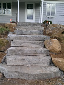 Steps on Hill leading to pool