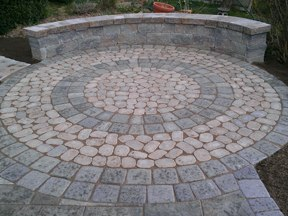 Circle Paver Patio space with Sitting Wall in CT