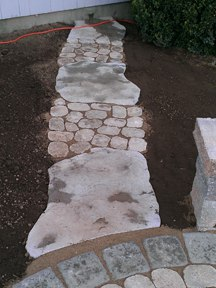 Small Paver Walkway to Hose Faucet, Maya and Antika, in CT