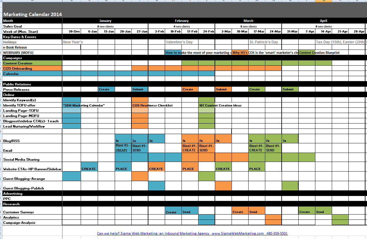 Marketing Calendar Template | cyberuse