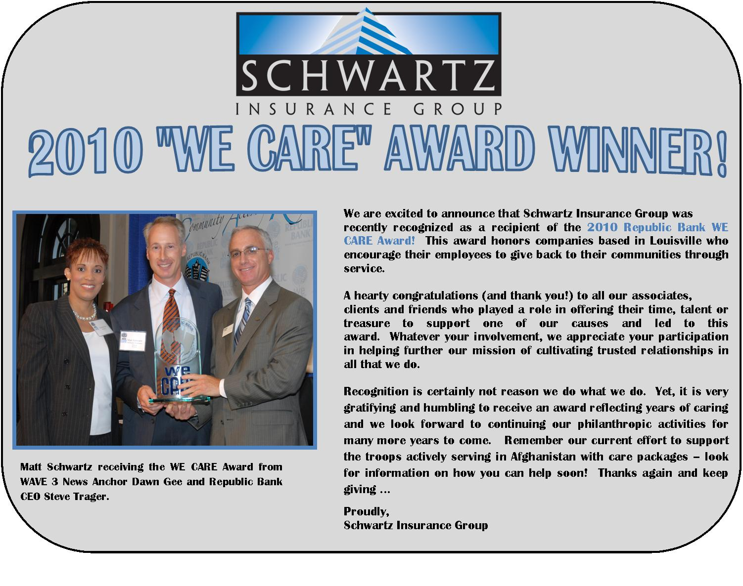 Schwartz Insurance Group Wins We CARE Award!