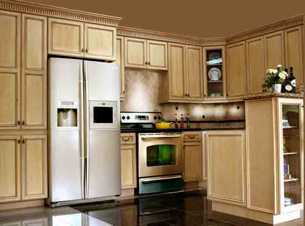 both custom kitchen cabinets and prefabricated cabinets are in a
