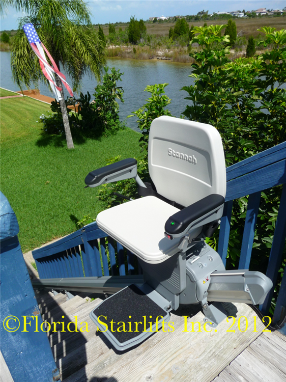 If I was to choose a stairlift for outdoor reliability. longevity and overall customer satisfaction the Stannah stairlift model 320 would be the one. A quality product built to with stand the elements even right next to a saltwater canal.