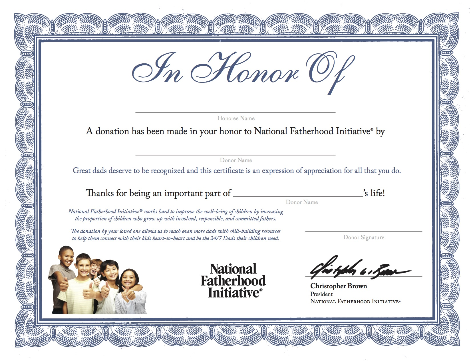 certificate of appreciation for donation template - you can make a difference for dads in your community