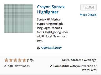 Crayon Syntax Highlighter plugin