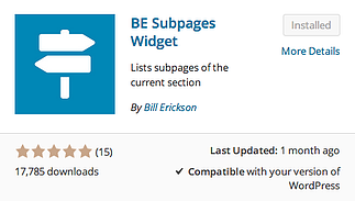 BE Subpages Widget