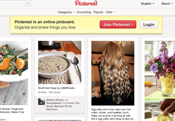 Pinterest infinite scrolling