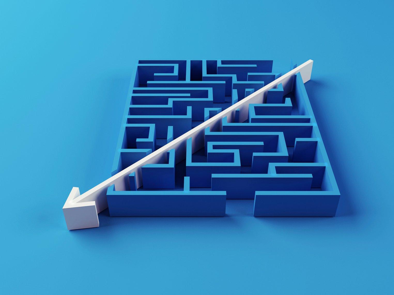 arrow cutting through maze diagonally