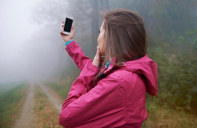 women looking at phone in misty woods