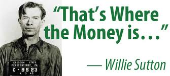 Willie Sutton (also from New York) robbed banks for a living-- an estimated $2 million was stolen.